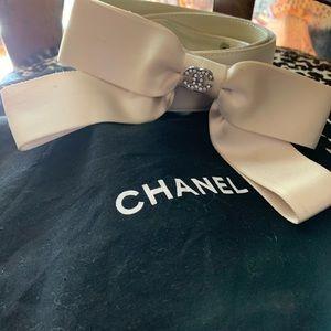 Chanel Lamb&Silk belt beige size ladies32
